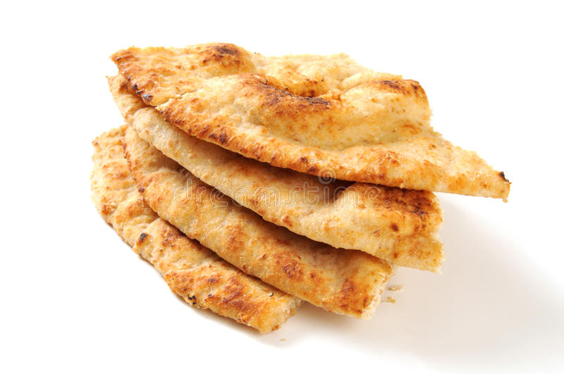 Naan bread wedges. Wedges of golden Naan bread on a white background with a natural drop shadow stock photography