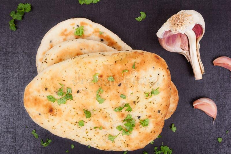 Naan chleb, odgórny widok. fotografia stock