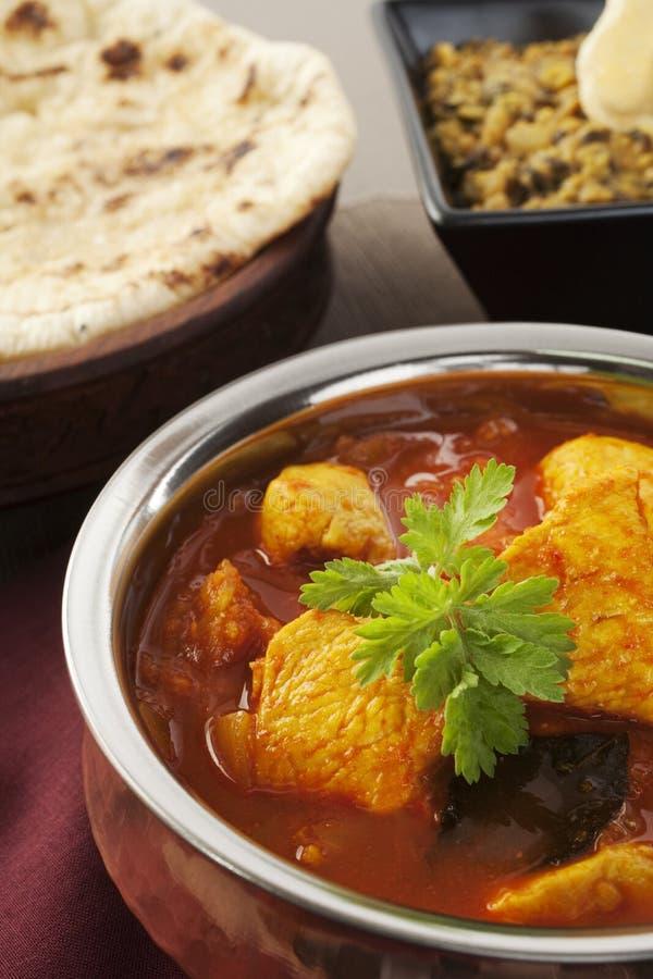 Naan för curry för Madras höna indiskt bröd Dhal Dal Food Meal royaltyfria bilder