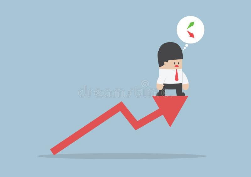 Naar boven of naar onder, Zakenman het verwarren over effectenbeursgrafiek stock illustratie