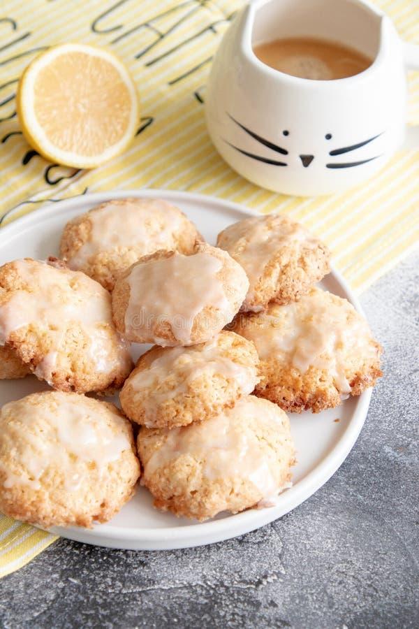 Naar huis gemaakte citroenkoekjes met glans stock foto