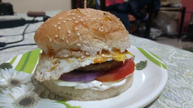 Naar huis gemaakte kippenhamburger royalty-vrije stock afbeelding