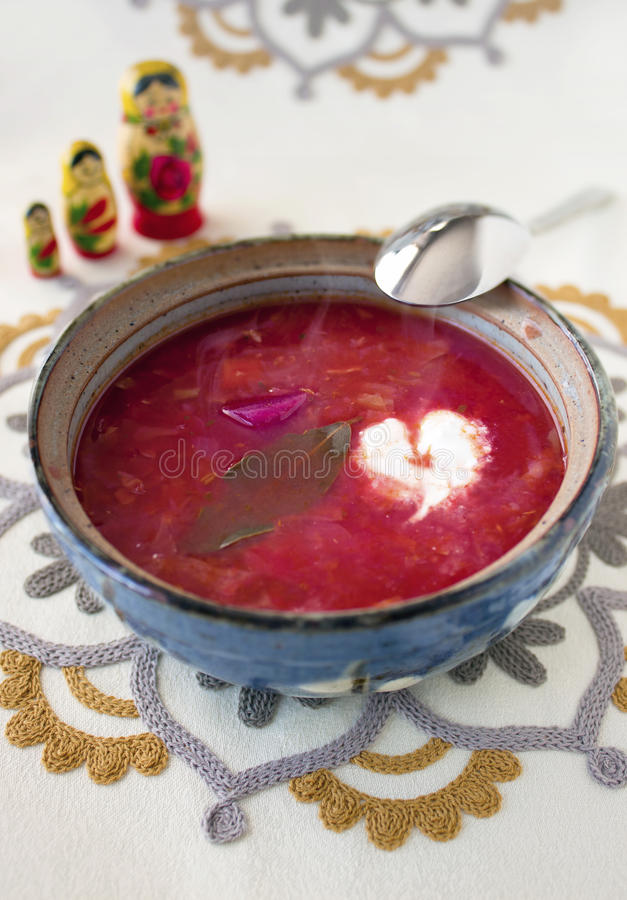 Naar huis gemaakte vegetarische borscht soep royalty-vrije stock afbeelding