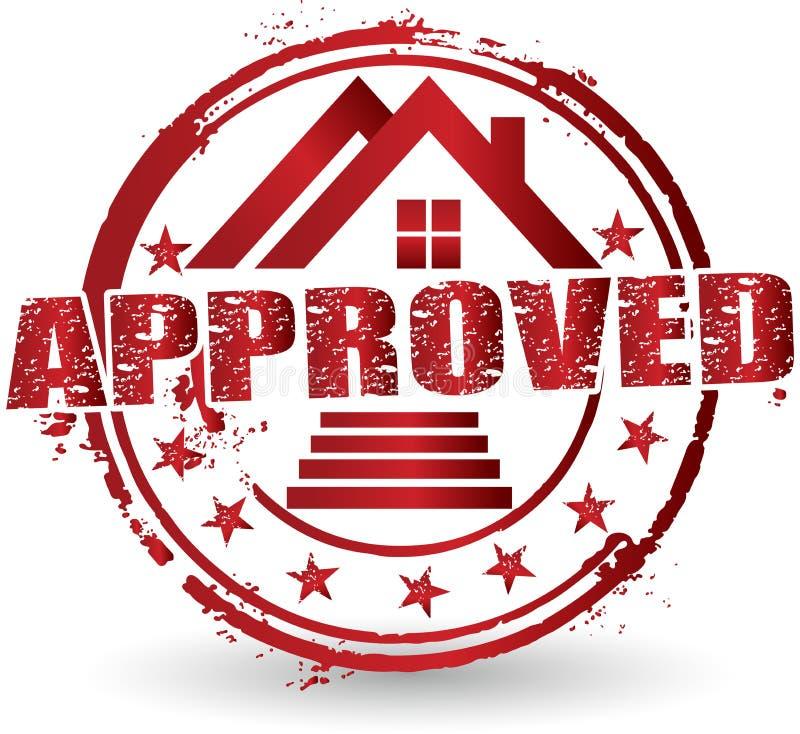 Naar huis goedgekeurd embleem vector illustratie