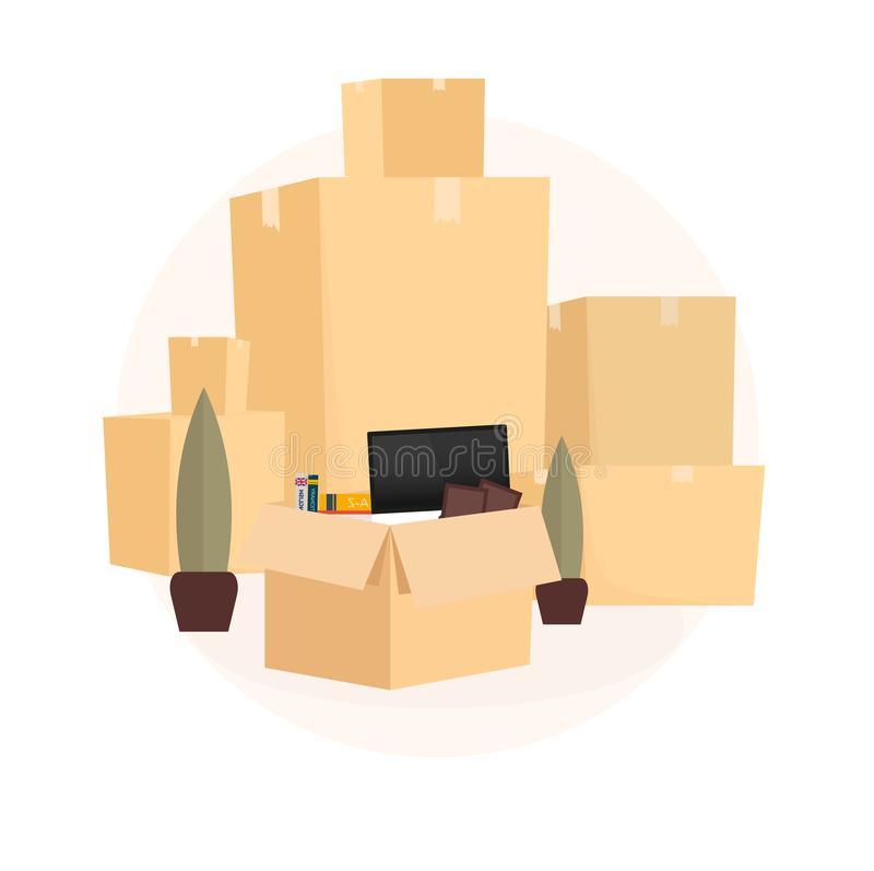 Naar huis zich beweegt, worden wij bewogen Bewegende Vrachtwagen met Dozen De vectorillustratie van de beeldverhaalstijl vector illustratie
