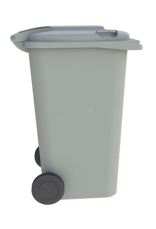 Naast mening van grijze huisvuil wheelie bak met een gesloten deksel op een witte achtergrond royalty-vrije illustratie