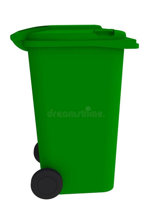 Naast mening van groene huisvuil wheelie bak met een gesloten deksel stock illustratie