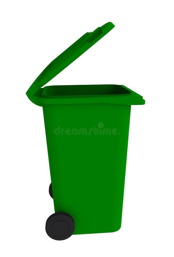 Naast mening van groene huisvuil wheelie bak met een open deksel op een witte achtergrond vector illustratie