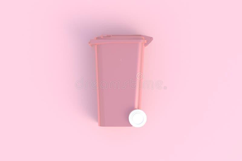 Naast mening van roze huisvuil wheelie bak met een gesloten deksel op een roze achtergrond royalty-vrije illustratie