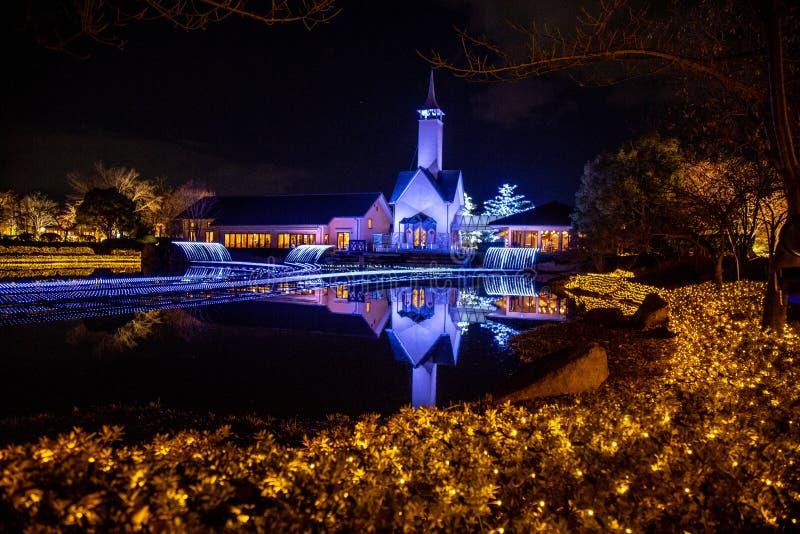 Nabana żadny Sato ogród w zimy iluminacji, Japonia obraz stock