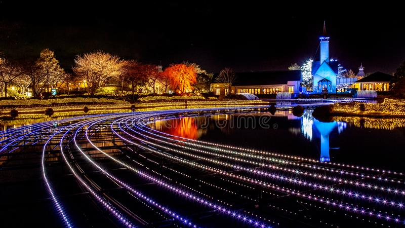 Nabana отсутствие сада в освещении зимы, Японии Sato стоковая фотография