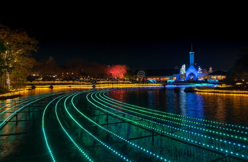 Nabana inte Sato, ljus festival p? Nagashima, Mie Prefecture arkivfoto