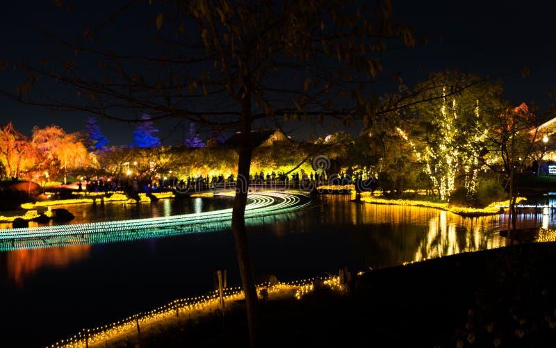 Nabana n?o Sato, festival claro em Nagashima, Mie Prefecture jap?o imagens de stock