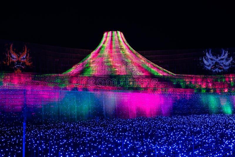 Nabana nenhuma iluminação do inverno de Sato em Mie, Japão fotografia de stock royalty free