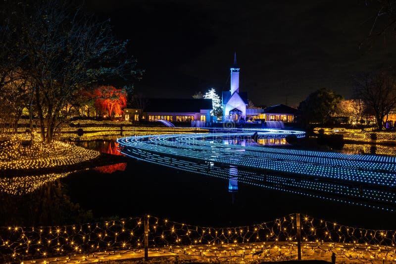 Nabana nessun giardino nell'illuminazione di inverno, Giappone di Sato immagini stock