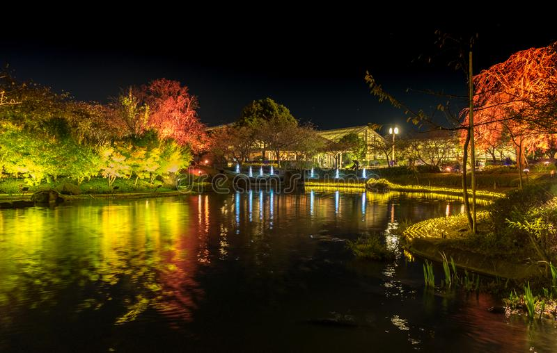 Nabana no Sato, light festival at Nagashima, Mie Prefecture. Japan royalty free stock image