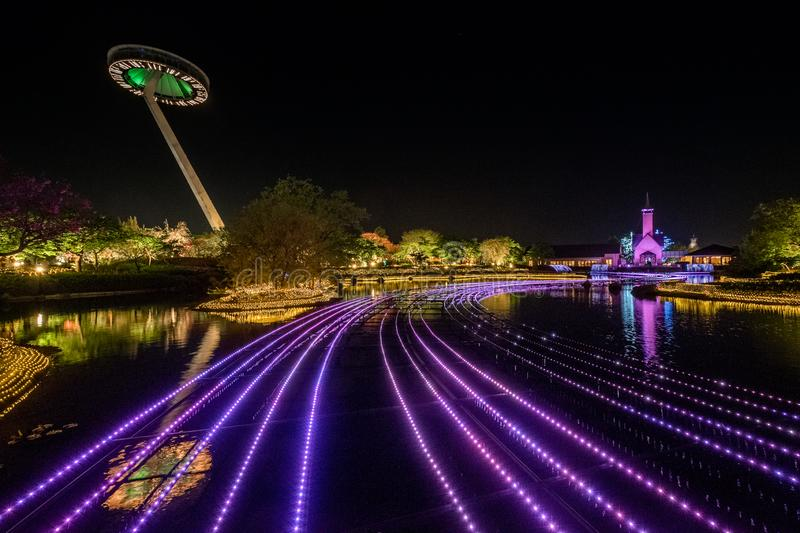 Nabana no sato park wintter illumination, Japan. Nabana no sato park is a flower garden locate near Nagoya city, in the wintter it will host a winter stock photo