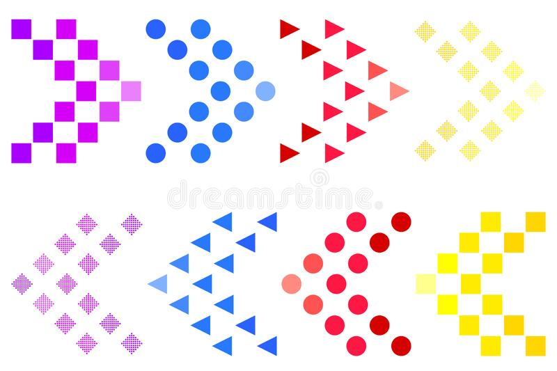 Nabarpictogrammen van verschillende kleuren op een witte achtergrond Vector graphhics Concept zwabbers voor programma's en webpag vector illustratie