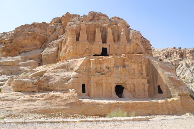 Nabataean grottor arkivfoton