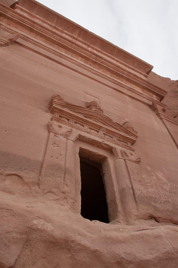Nabatean坟茔在Madain萨利赫考古学站点,沙特阿拉伯 免版税库存图片