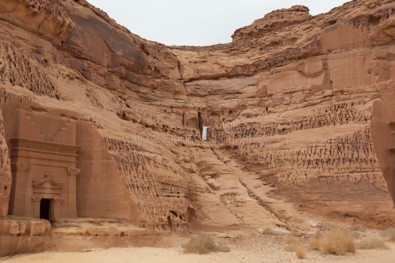 Nabatean坟茔在Madain萨利赫考古学站点,沙特阿拉伯 免版税库存照片