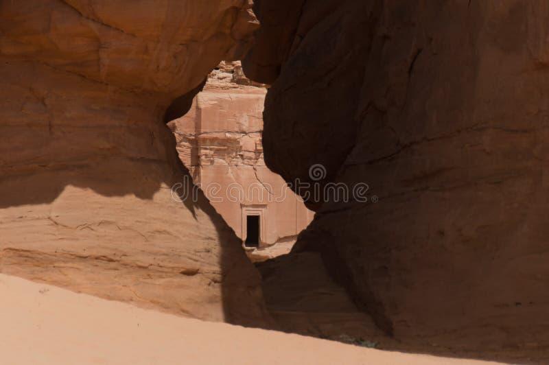 Nabatean坟茔在Madain萨利赫考古学站点,沙特阿拉伯 库存照片