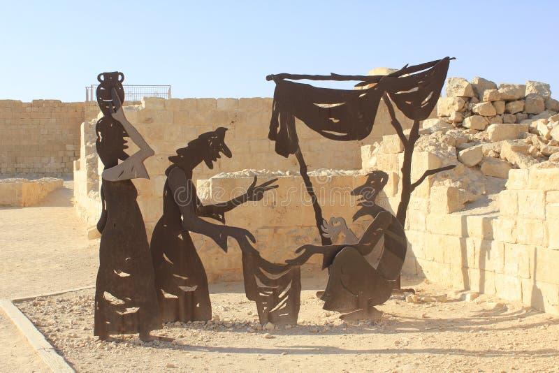 Nabatheans雕塑, Nabatean市 库存照片