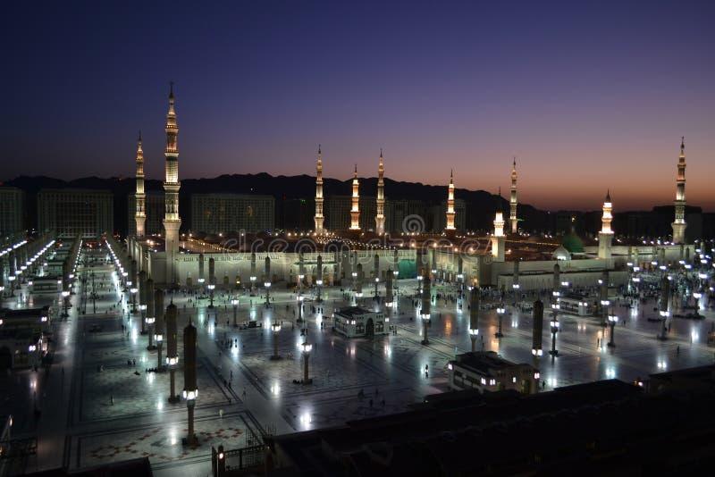 Nabawi Meczet w Medina przy świtem obraz royalty free