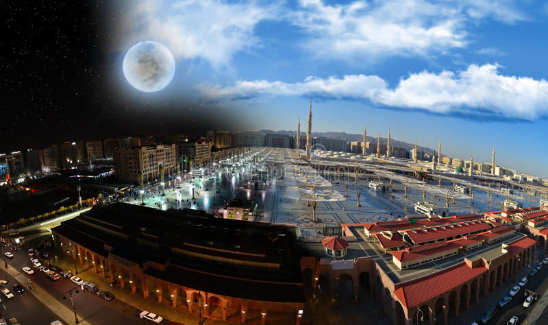 Nabawi Moschee in Medina an der Nacht und am Tag lizenzfreie stockbilder