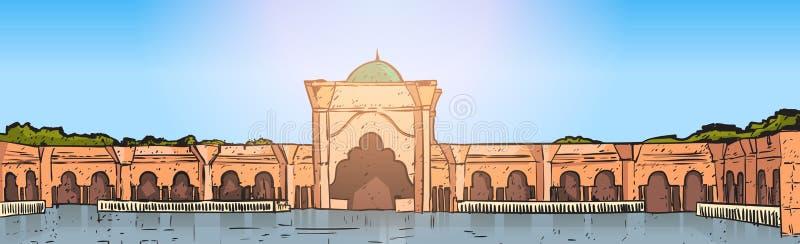Nabawi-Moscheen-Gebäude-moslemische Religion Ramadan Kareem Holy Month lizenzfreie abbildung