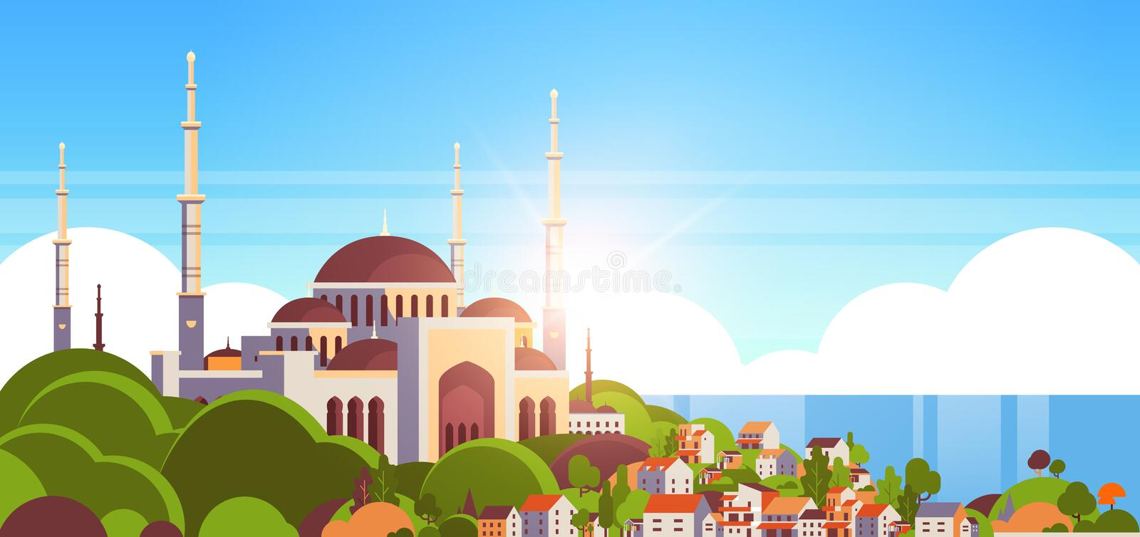 muslim cityscape nabawi mosque building religion stock vector illustration of background landscape 93912568 muslim cityscape nabawi mosque building