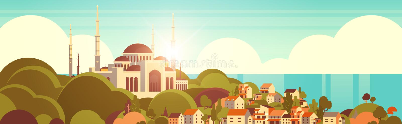 Nabawi mosque building religionskoncept muslim cityscape vacker botten av horisontell baksida vektor illustrationer