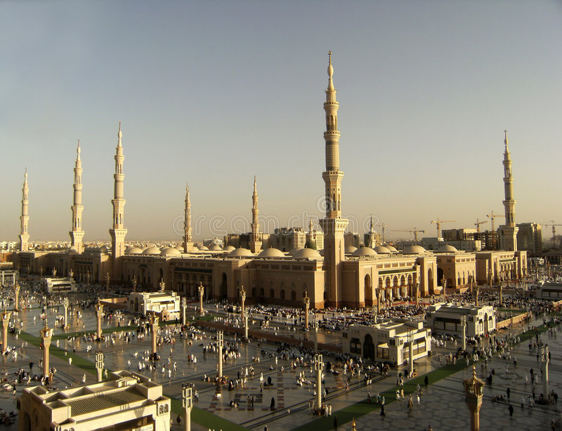 Nabawi Mosque, Medina, Saudi Arabia. In the evening royalty free stock photo