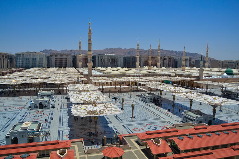 Nabawi Mosque west side royalty free stock photography