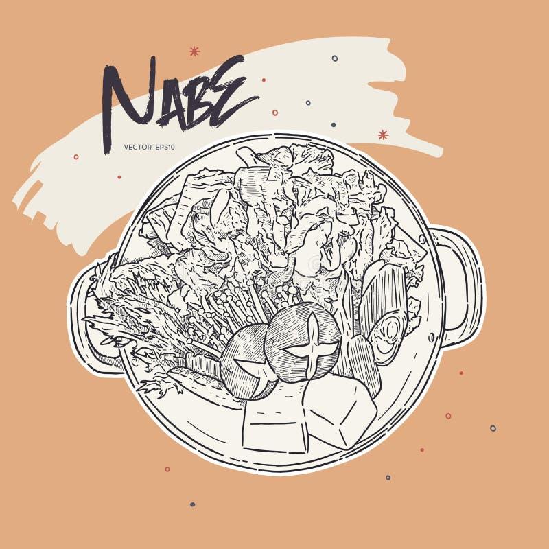 Nabe, Japanese hot pot. hand draw sketch vector stock illustration