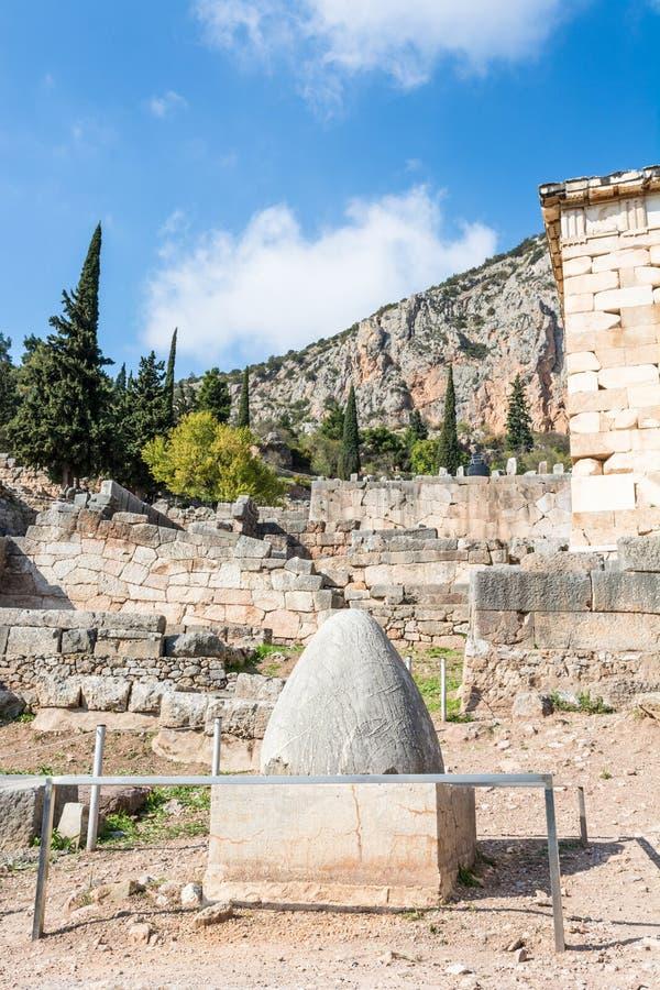 Nabel zur Welt am Tempel von Apollo lizenzfreies stockbild
