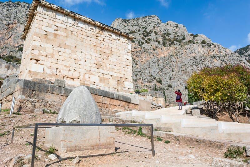 Nabel zur Welt am Tempel von Apollo lizenzfreies stockfoto