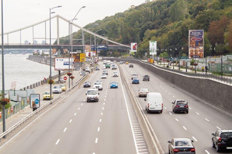 Naberezhne高速公路在基辅 免版税库存照片