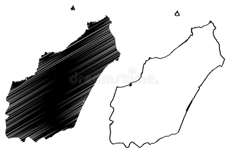 Nabeul Governorate Governorates of Tunisia, Republic of Tunisia map vector illustration, scribble sketch Nabeul map.  stock illustration