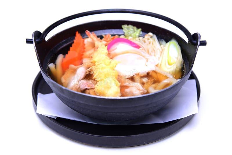 Nabeyaki Udon , Japanese Hot Pot noodles , isolated on white background (with Clipping Path) royalty free stock photos