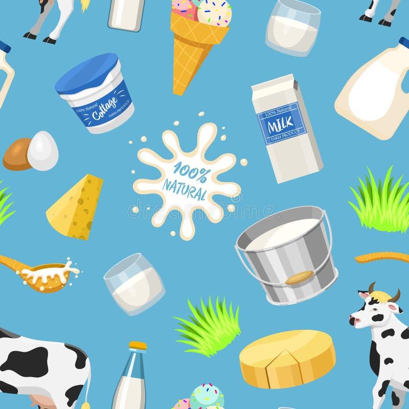 Nabiałów dojnych produktów wapni mleczarstwa wektorowej naturalnej karmowej milky produkci jogurtu serowa chałupa i kwaśna śmieta ilustracja wektor