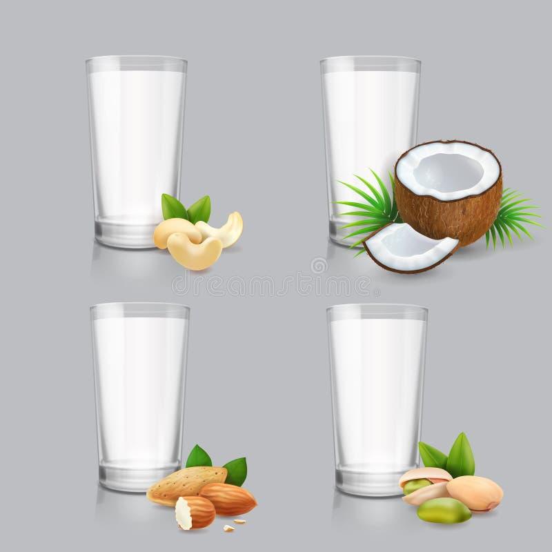 Nabiału mleka set Weganin dokrętki mleko w pić szkło Jarosz lub roślina opierający się napoju koks, nerkodrzew, migdał, pistacja royalty ilustracja
