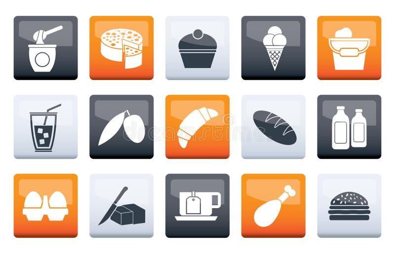 Nabiały - jedzenia i napoju ikony nad koloru tłem ilustracji