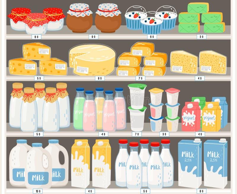 Nabiały w supermarkecie ilustracji
