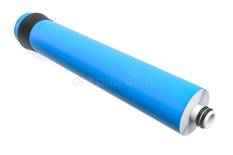 Nabojowa błona dla wodnej filtracji RO odwrotnej osmozy, 3D ilustracja wektor