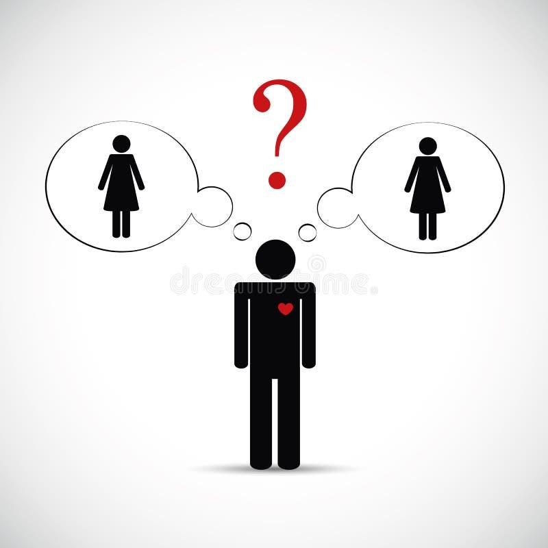Nabranie partnera mężczyzny myśl o dwa kobiet piktogramie royalty ilustracja