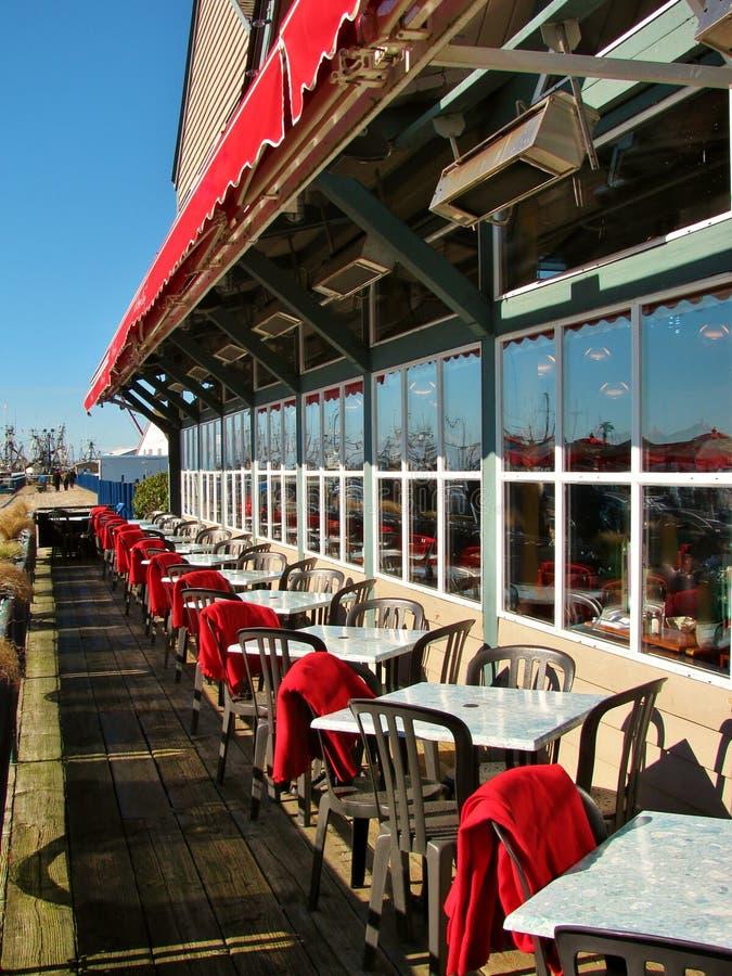 Nabrzeża restauracyjny patio w Richmond, Kanada obrazy royalty free