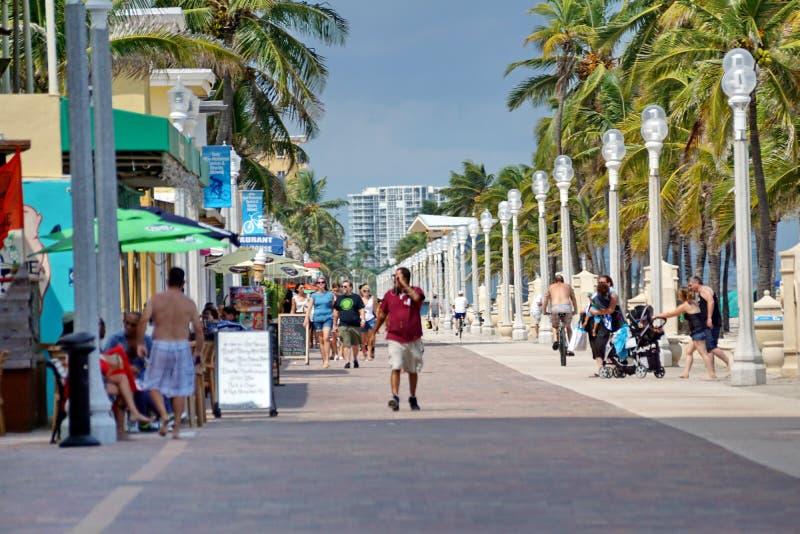 Nabrzeże deptak na Danie plaży w fort lauderdale, Floryda zdjęcie royalty free