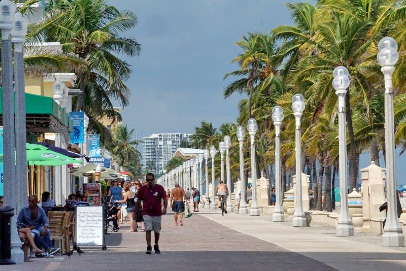 Nabrzeże deptak na Danie plaży w fort lauderdale, Floryda fotografia royalty free