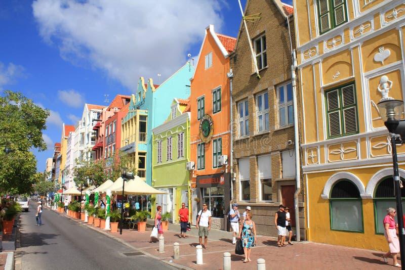 Nabrzeże domy w Willemstad historyczny gromadzki Punda, Curacao wyspa obrazy stock